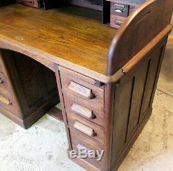Bureaux Anciens Cylinder Bureau Roll Top Table Bureau Écriture Tambour Chêne Acajou