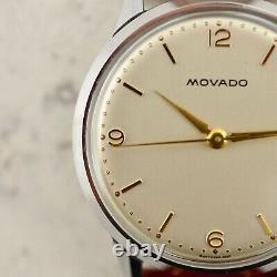 C. 1960 Vintage Nos Movado Calatrava Réf. 38302 Montre En Acier Withbox & Tags