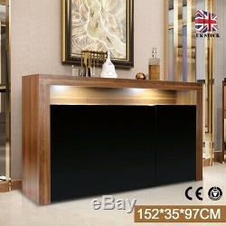 Cabinet 3 Portes Desserte Armoire Avec Portes Matt Body Laqué + Led