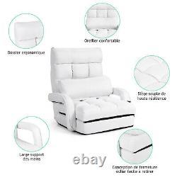 Canapé 2-en-1 Pliant Lazy Sofa Bed 5-position Réglable Fauteuil Sol Canapé Avec Oreiller