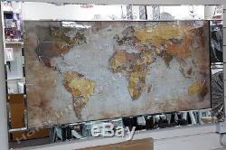 Carte Du Monde Avec Miroitement, Art Liquide, Cristaux Et Cadre De Miroir