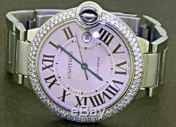 Cartier Ballon Bleu 3001 Ss 2.0ctw Vs Lunette Diamants 42mm Montre Automatique Des Hommes