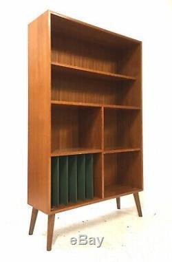 Century Retro Vintage MID Danois 1960 Teck Bibliothèque Lp Enfilade Diviseur Chambre