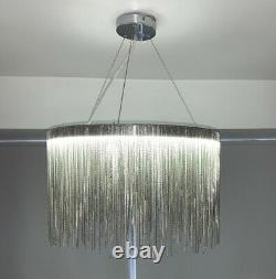 Cgc Chrome Silver Waterfall Chandelier Led Grand Pendentif Light Ceiling Lamp Tier