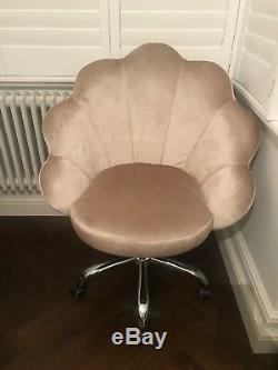 Chaise De Bureau Pivotante En Pétale De Coquille Neuve De Style Art Deco En Velours