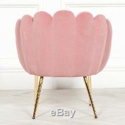Chaise De Salle À Manger Festonnée Vintage Blush Rose Datant De La Moitié Du Siècle Art Deco