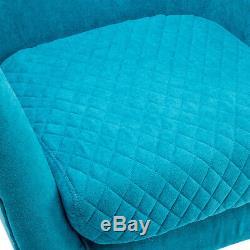 Chaise Fauteuil Rembourré Baignoire Haute Aile Arrière Gris / Bleu Seat Accent Occasionnel
