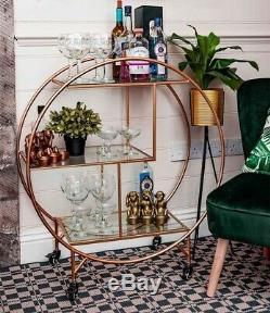 Chariot À Boissons Rond Avec 2 Rangées, Années 30, Art Déco, Vintage Art Home Bar