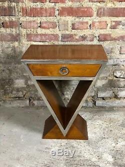Chevet / Table De Style Art Déco En Bois Et Chrome