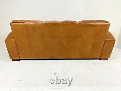 Cigare Art Déco Tanned Brown Leather Chesterfield 3 Seater Français Club Sofa