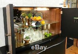 Cocktail Cabinet, Grand Boissons Cabinet, Et L'or Noir Art Déco, MID De Cent 1960