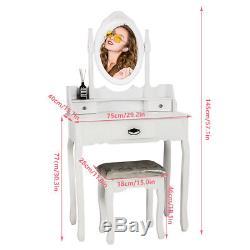 Coiffeuse 3 Tiroirs Et Miroirs Avec Tabouret Bureau De Maquillage De Chambre À Coucher En Bois Blanc