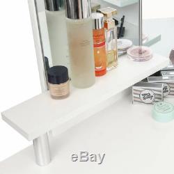 Coiffeuse Maquillage 5 Tiroirs Miroir Rembourré Coin Bureau Commode Makika
