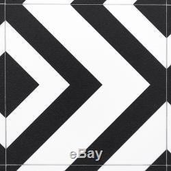 Coussin De Sol En Vinyle Géométrique Noir Et Blanc Tuile Effet Feuille Lino Cairo 01