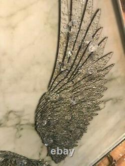 Cristal Broyé Silver Ailes Angel Shimmer Liquid Art Miroir Photo Cadre Mur
