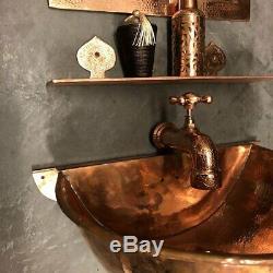 Cuivre Salle De Bains Mur Bassin Rouge Antique Navire-martelée Vintage Évier Main