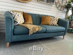 Designer Ashley Manor Pimlico Style Art Déco Teal Weave Canapé 3 Places Rrp £ 1075