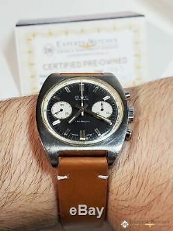 Desservi 1970 Vintage Bwc Chronographe 7733 Montre Panda Cadran Militaire Heuer Style