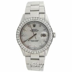 Diamant Rolex Datejust Mens 36mm Oyster Band Blanc Mère Dial Pearl 2 Ct