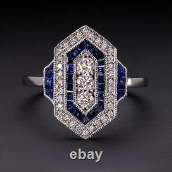 Diamant Saphir Style Vintage Bague Art Déco Géométrique Cocktail Antique Naturel