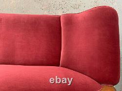Eb1464 Danish Pink Velour Chaise Longue Chaise Longue Vintage Lounge Sièges