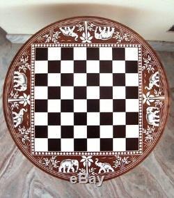 Échiquier En Bois Marqueté Sculpté Table De Travail Basse Ronde Pliable Vintage Rechercher