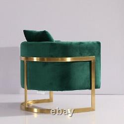 Emerald Green Velvet Tub Accent Chaise Or Finition Frame Uk Stock Livraison Gratuite