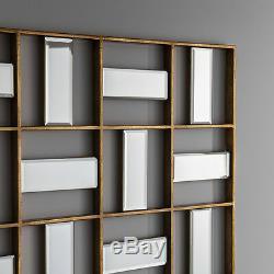 Empire Grand Art Déco Cadre Géométrique Biseautées Miroir Mural 52 X 29
