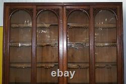 Énorme 240cm Tall Solid English Oak Victorian Library Sliding Glass Door Bookcase