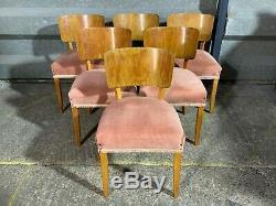 Ensemble De 6x Vintage Chaise À Dîner Qualité D'érable D'art Déco Tapissé 40 De 1930 De