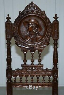 Ensemble De Cinq Jolies Chaises Originales Bretonnes Françaises 1870 En Chêne Sculpté Victorien À La Main