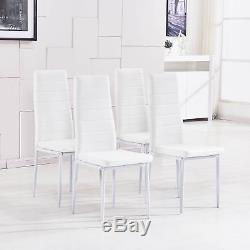 Ensemble De Table À Manger En Verre À Haute Brillance Rectangulaire Clair Et 4 Chaises En Polyuréthane