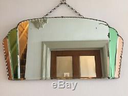 Eventail Vintage Art Déco Sans Cadre, Vert Et Pêche, Teinté, Miroir, Années 1930