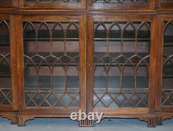 Exceptionnelle Astral Glazed Breakfront Library Bookcase Prince Of Wales Feathers