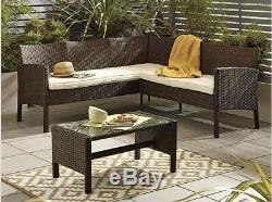 Extérieur Brown Jardin Meubles En Rotin Canapé D'angle 5 Places Et Table Ensemble De Patio