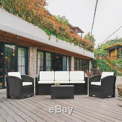 Extérieur Jardin Meubles En Rotin Canapé D'angle 4-5 Places Ensemble De Patio Avec Des Coussins