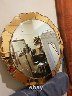 Fabuleux Vintage Des Années 1940 / Années 50 Style Art Déco Miroir Rond Avec Des Pétales De Verre Peach