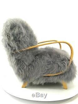 Fauteuil Design Vintage Art Déco Fauteuil Bentwood Gris En Peau De Mouton J Halabala