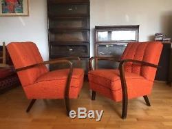 Fauteuil Halabala De Style Bentwood Art Déco / Loft / Scandi Vgc En Orange Brulé