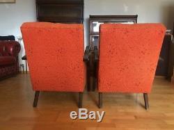 Fauteuil Halabala Style Art Deco / Loft / Scandi Vgc En Orange Brulé