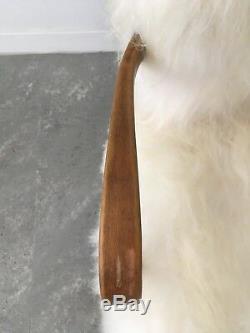 Fauteuil Halibala H237 En Peau De Mouton Blanche Au Design D'époque, Design Vintage