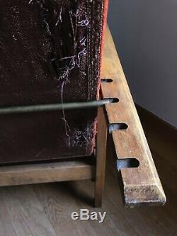 Fauteuil Inclinable Art Déco Avec Repose-pieds Gigogne, Structure En Bois