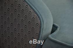 Fitzroy Fauteuil Art Déco 1920 Chaise De Style Accent Blue Velvet Parker Knoll