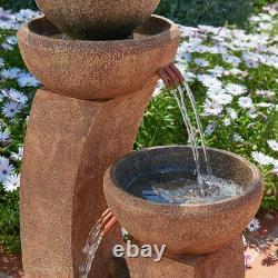 Fontaine D'eau D'amitié De 3 Niveaux Feature Cascade Contemporary Stone Effect
