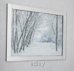 Forêt Dans La Neige Avec Cadre En Miroir À Paillettes Art, Image En Paillettes Scintillantes