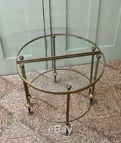 Français MID 20 C Maison Tripartite En Laiton Verre Bagues Side Canapé Table Basse
