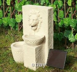 Gardenwize Garden Outdoors Solar Powered Lion Head Stone Water Feature Fontaine