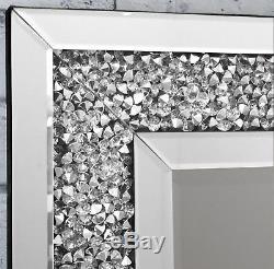 Gatsby Miroir Mural Biseauté En Cristal De Verre Cristal Encadré Toute La Longueur 180cm X 70cm