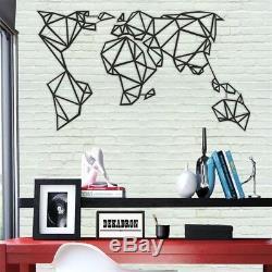 Géométrique Métal Carte Du Monde Métal Mur Décoration Mur Art Salon Décoration