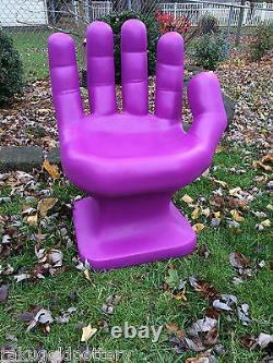 Giant Bright Violet Droit Hand Shaped Chair 32 Adultes 70s Rétro Eames Icarly Nouveau